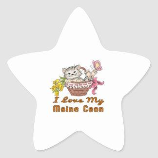 I Love My Maine Coon Star Sticker