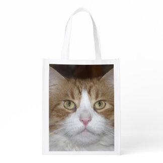 Jack domestic orange and white maine coon cat grocery bag
