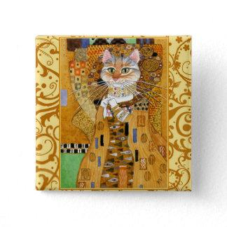 Klimt Cat in Gold square pinback Button