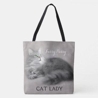 Large Personalized Crazy Cat Lady Tote Bag