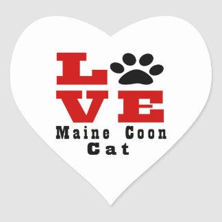 Love Maine Coon Cat Designes Heart Sticker