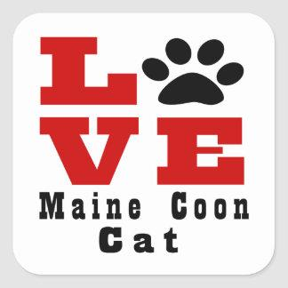 Love Maine Coon Cat Designes Square Sticker