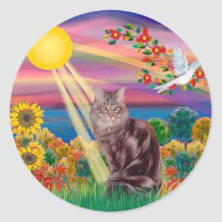 Maine Coon Cat 10 - Autumn Sun Classic Round Sticker