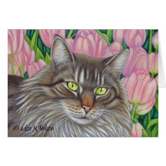 Maine Coon Cat and Pink Tulips Card