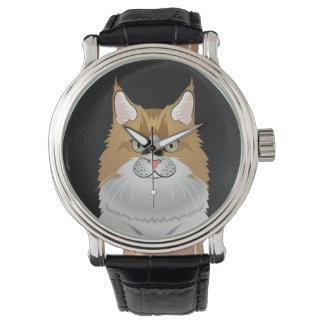 Maine Coon Cat Cartoon (Light) Wrist Watch