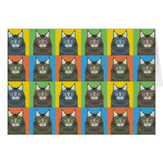 Maine Coon Cat Cartoon Pop-Art Card