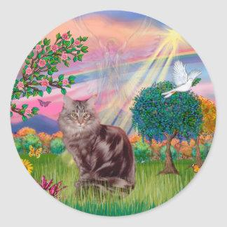 Maine Coon Cat  - Cloud Angel Classic Round Sticker