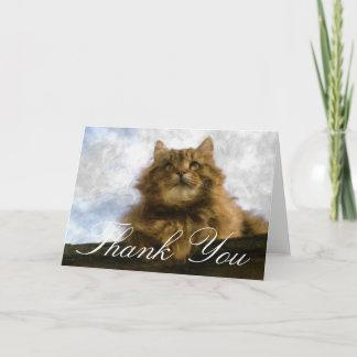 Maine Coon Cat Impressionist Art Thank You Card