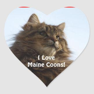 Maine Coon Cat Lover Heart Gift Stickers