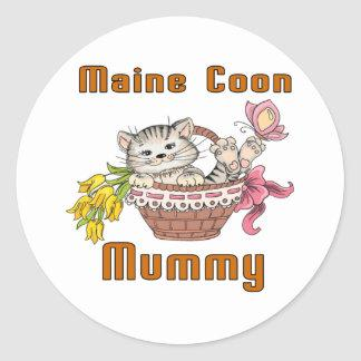 Maine Coon Cat Mom Classic Round Sticker