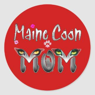 Maine Coon Cat Mom Gifts Classic Round Sticker
