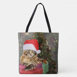 Maine Coon Cat Santa & Gifts Christmas Tree Behind Tote Bag
