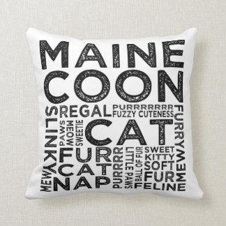 Maine Coon Cat Typography Throw Pillow