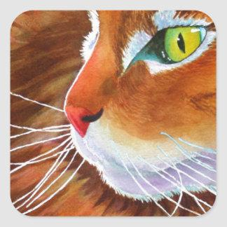 Maine Coon Cat Whiskers Square Sticker