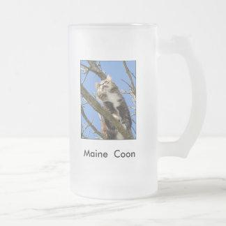 Maine  Coon Frosted Glass Beer Mug
