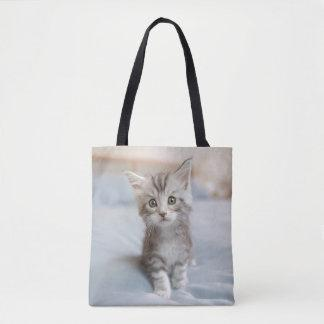 Maine Coon Kitten Sitting On Bed Tote Bag