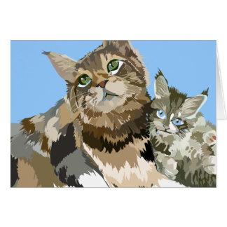 Maine Coon Mom & Kitten note card