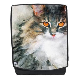 maine coon watercolor art backpack