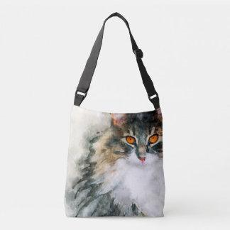 maine coon watercolor art crossbody bag