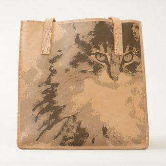 maine coon watercolor art tote