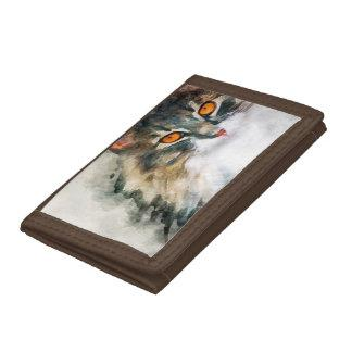 maine coon watercolor art trifold wallet