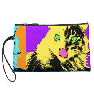 Maine Coons in pop art style portraits Suede Wristlet Wallet