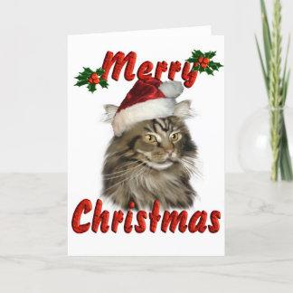 Merry Christmas Maine Coon Cat Holiday Card