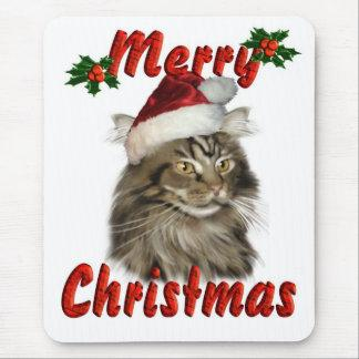 Merry Christmas Maine Coon Cat Mouse Pad