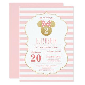 Minnie Mouse   Gold & Pink Striped Birthday Card