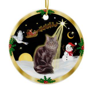 Night Flight - Maine Coon cat (tabby 10) Ceramic Ornament