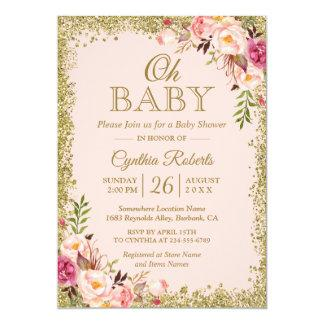 Oh Baby Shower - Blush Pink Gold Glitters Floral Card