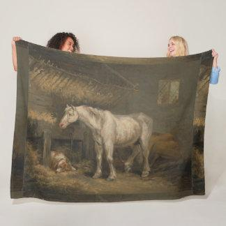 Old Horses with a Dog in a Stable George Morland Fleece Blanket