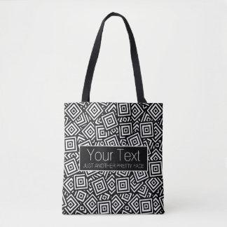 Personalized BW Square Pile With Quote Tote Bag
