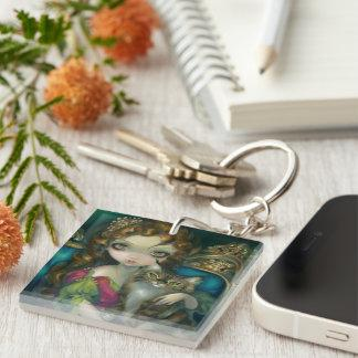 """""""Princess with a Maine Coon Cat"""" Keychain"""