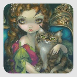 """Princess with a Maine Coon Cat"" Sticker"
