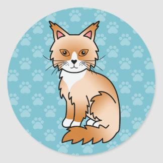 Red And White Maine Coon Cat Cartoon Illustration Classic Round Sticker