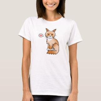 Red And White Maine Coon Cat Cartoon Illustration T-Shirt