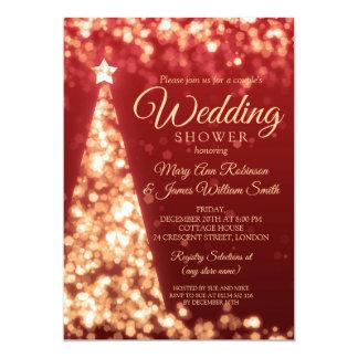 Red & Gold Christmas Holiday Couples Shower Invitation