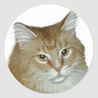 Red Tabby Maine Coon Classic Round Sticker
