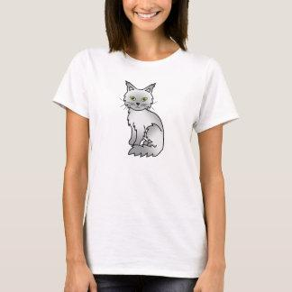 Shaded Silver Maine Coon Cat Cartoon Drawing T-Shirt