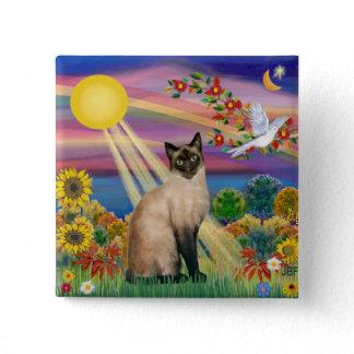 Siamese Cat - Autumn Sun Pinback Button