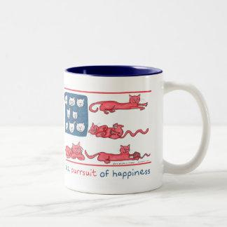 The Purrsuit of Happiness 2-tone mug (blue/white)