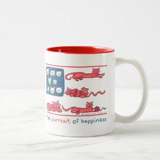 The Purrsuit of Happiness red two-tone mug