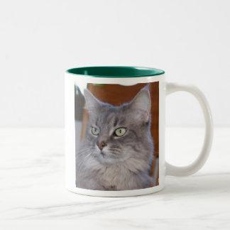 This cat doesn't mess around Two-Tone coffee mug