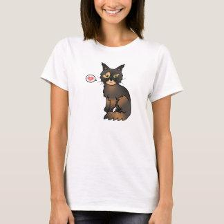 Tortoiseshell Color Maine Coon Cat Cartoon Drawing T-Shirt