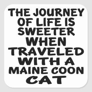 Traveled With Maine Coon Cat Square Sticker