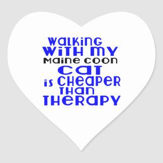Walking With My Maine Coon Cat Designs Heart Sticker
