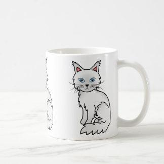 White Color Maine Coon Cat Cartoon Illustration Coffee Mug