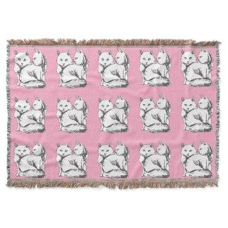 White Maine Coon Cats Print Pink Throw Blanket