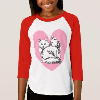 White Maine Coons Pink Heart Girls' Raglan T-Shirt